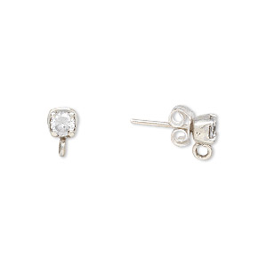 earstud, white topaz (natural) and sterling silver, 4mm round with faceted round and closed loop. sold per pair.