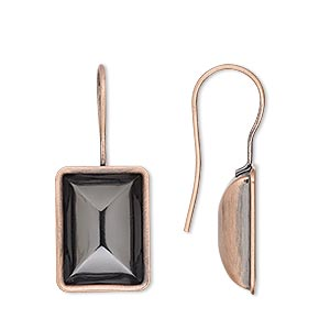 earwire, almost instant jewelry, antique copper-plated brass, 30x13mm fishhook with 14x10mm step-cut rectangle setting, 20 gauge. sold per pkg of 2 pairs.