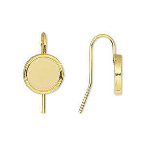 earwire, almost instant jewelry, gold-finished brass, 19mm fishhook with 10mm round setting, 18 gauge. sold per pkg of 5 pairs.