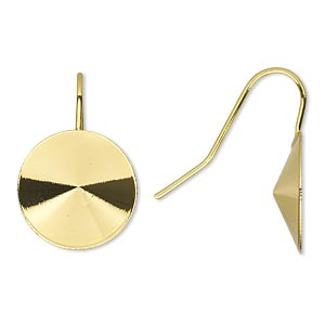 earwire, almost instant jewelry, gold-finished brass, 22mm fishhook with 16mm rivoli setting, 18-20 gauge. sold per pkg of 5 pairs.
