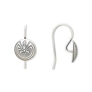 earwire, antiqued sterling silver, 19mm fishhook with 10mm labyrinth and man concho, 20 gauge. sold per pair.