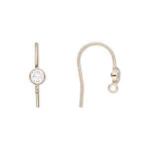 earwire, cubic zirconia and 14kt gold-filled, clear, 15mm fishhook with 4mm faceted round and open loop, 21 gauge. sold per pair.