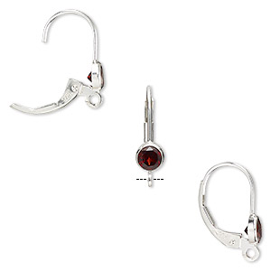 earwire, garnet (natural) and sterling silver, 17mm leverback with 4mm faceted round and open loop. sold per pair.