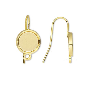 earwire, gold-finished brass, 19mm fishhook with 10mm round setting and closed loop, 18 gauge. sold per pkg of 5 pairs.