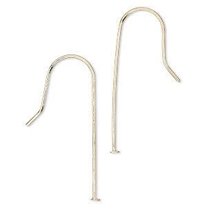earwire, gold-finished steel, 33-34mm fishhook with 28mm stack-a-bead headpin shank, 21 gauge. sold per pkg of 10 pairs.