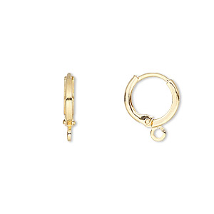 earwire, gold-plated brass, 11mm round leverback with closed loop. sold per pkg of 5 pairs.