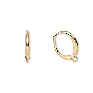 earwire, gold-plated brass, 16mm leverback with closed loop. sold per pkg of 5 pairs.