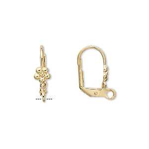 earwire, gold-plated brass, 17mm leverback with 5x5mm flower and open loop. sold per pkg of 50 pairs.