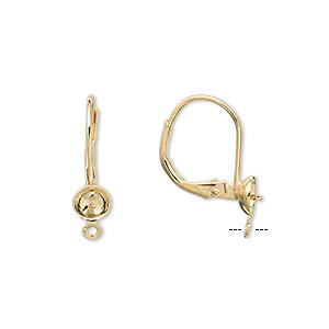 earwire, gold-plated brass, 18mm leverback with 5mm cup and peg with open loop, fits 4-6mm bead. sold per pkg of 50 pairs.