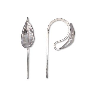 earwire, hill tribes, silver-plated brass, 16mm fishhook with leaf and open loop, 20 gauge. sold per pair.