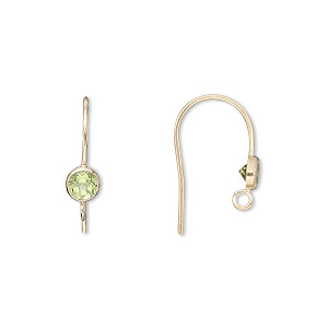 earwire, peridot (natural) and 14kt gold-filled, 4mm faceted round, 15mm fishhook with open loop, 21 gauge. sold per pair.