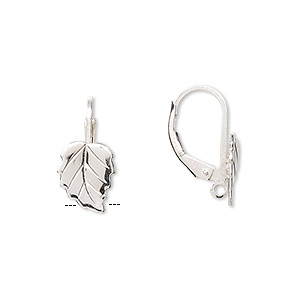 earwire, sterling silver, 17mm leverback with 10x8mm left- and right-facing leaf and hidden open loop. sold per pair.