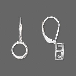 earwire, sterling silver, leverback, smooth round, 23x9mm, 8mm round setting. sold per pair.