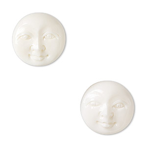 embellishment, bone (bleached), white, 15-17mm hand-carved single-sided undrilled moon face, mohs hardness 2-1/2. sold per pkg of 2.