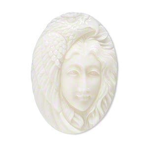 embellishment, bone (bleached), white, 34x23mm-38x27mm hand-carved single-sided undrilled spirit eagle, mohs hardness 2-1/2. sold individually.
