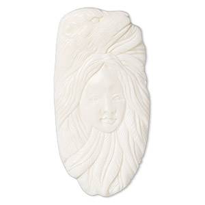 embellishment, bone (bleached), white, 62x30mm-66x34mm hand-carved single-sided undrilled spirit bear, mohs hardness 2-1/2. sold individually.