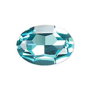 embellishment, celestial crystal rhinestone, aquamarine, foil back, 30x22mm faceted oval fancy stone. sold individually.