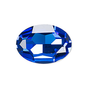 embellishment, celestial crystal rhinestone, sapphire blue, foil back, 30x22mm faceted oval fancy stone. sold individually.