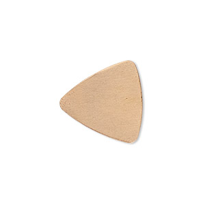 embellishment, copper, 18mm undrilled double-sided shiny flat triangle blank, 24 gauge. sold per pkg of 10.