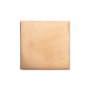 embellishment, copper, 24x24mm undrilled double-sided shiny flat square blank, 18 gauge. sold per pkg of 4.