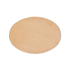 embellishment, copper, 32x23mm undrilled double-sided shiny flat oval blank, 24 gauge. sold per pkg of 4.