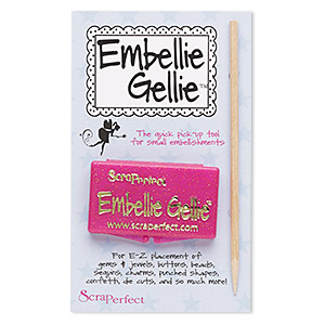 embellishment positioner, embellie gellie™, plastic / silicone rubber / wood, clear, 2-1/8 x 1-1/4 inches with 4-1/2 inch wand. sold individually.