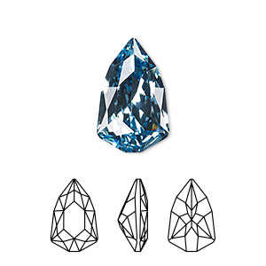 embellishment, swarovski crystal rhinestone, aquamarine, foil back, 18.7x11.8mm faceted trilliant fancy stone (4707). sold per pkg of 48.