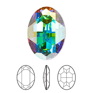 embellishment, swarovski crystal rhinestone, crystal ab, foil back, 30x22mm faceted oval fancy stone (4127). sold per pkg of 24.