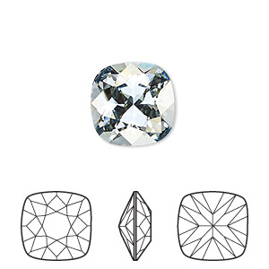 embellishment, swarovski crystal rhinestone, crystal blue shade, foil back, 12x12mm faceted cushion fancy stone (4470). sold per pkg of 72.