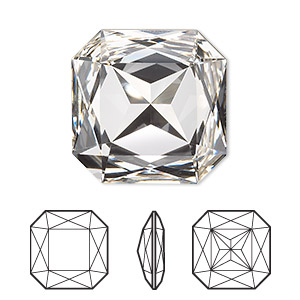 embellishment, swarovski crystal rhinestone, crystal clear, foil back, 23x23mm faceted square fancy stone (4675). sold per pkg of 24.