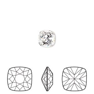 embellishment, swarovski crystal rhinestone, crystal clear, foil back, 8mm faceted cushion fancy stone (4470). sold per pkg of 72.