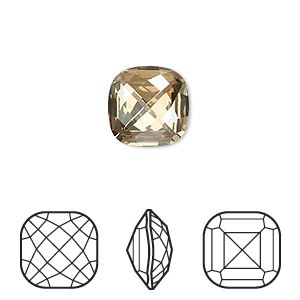 embellishment, swarovski crystal rhinestone, crystal golden shadow, foil back, 12x12mm faceted classical cushion fancy stone (4461). sold per pkg of 72.