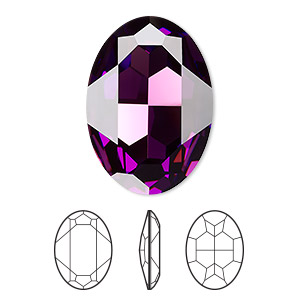 embellishment, swarovski crystal rhinestone, crystal passions, amethyst, foil back, 30x22mm faceted oval fancy stone (4127). sold per pkg of 4.