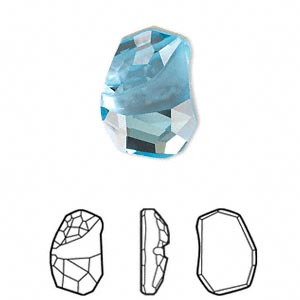 embellishment, swarovski crystal rhinestone, crystal passions, aquamarine, foil back, 19x13mm faceted divine rock flat fancy stone (4787). sold per pkg of 12.