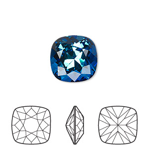 embellishment, swarovski crystal rhinestone, crystal passions, bermuda blue, foil back, 12x12mm faceted cushion fancy stone (4470). sold individually.