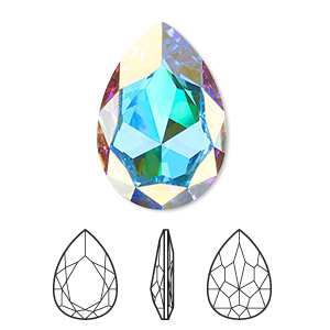 embellishment, swarovski crystal rhinestone, crystal passions, crystal ab, foil back, 30x20mm faceted pear fancy stone (4327). sold per pkg of 4.