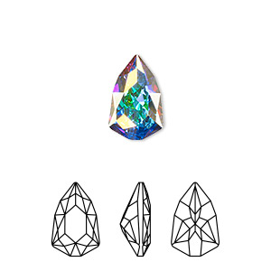 embellishment, swarovski crystal rhinestone, crystal passions, crystal ab, foil back, 13.6x8.6mm faceted trilliant fancy stone (4707). sold per pkg of 6.