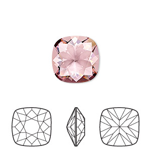 embellishment, swarovski crystal rhinestone, crystal passions, crystal antique pink, 12x12mm faceted cushion fancy stone (4470). sold individually.