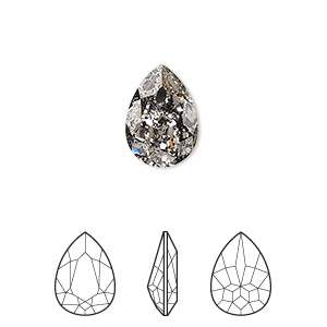embellishment, swarovski crystal rhinestone, crystal passions, crystal black patina, foil back, 14x10mm faceted pear fancy stone (4320). sold per pkg of 12.