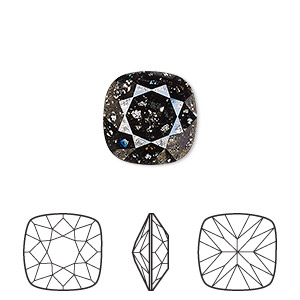 embellishment, swarovski crystal rhinestone, crystal passions, crystal black patina, foil back, 12x12mm faceted cushion fancy stone (4470). sold individually.