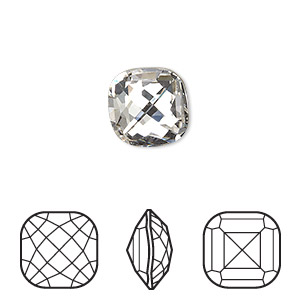 embellishment, swarovski crystal rhinestone, crystal passions, crystal clear, foil back, 12x12mm faceted classical cushion fancy stone (4461). sold individually.