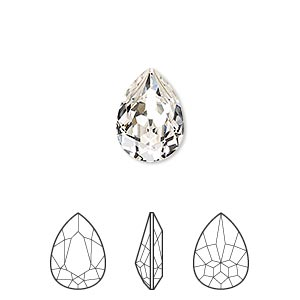 embellishment, swarovski crystal rhinestone, crystal passions, crystal clear, foil back, 14x10mm faceted pear fancy stone (4320). sold per pkg of 12.