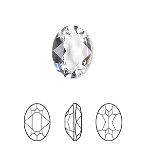 embellishment, swarovski crystal rhinestone, crystal passions, crystal clear, 8x6mm faceted oval fancy stone (4120). sold per pkg of 18.