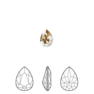 embellishment, swarovski crystal rhinestone, crystal passions, crystal golden shadow, foil back, 8x6mm faceted pear fancy stone (4320). sold per pkg of 2.