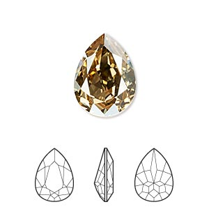 embellishment, swarovski crystal rhinestone, crystal passions, crystal golden shadow, foil back, 18x13mm faceted pear fancy stone (4320). sold per pkg of 6.