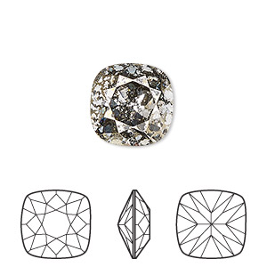 embellishment, swarovski crystal rhinestone, crystal passions, crystal gold patina, foil back, 12x12mm faceted cushion fancy stone (4470). sold per pkg of 6.