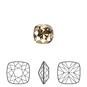 embellishment, swarovski crystal rhinestone, crystal passions, crystal golden shadow, foil back, 10x10mm faceted cushion fancy stone (4470). sold per pkg of 6.