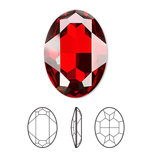 embellishment, swarovski crystal rhinestone, crystal passions, crystal red magma, foil back, 30x22mm faceted oval fancy stone (4127). sold individually.