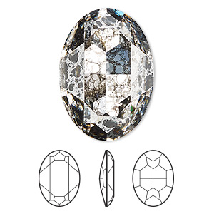 embellishment, swarovski crystal rhinestone, crystal passions, crystal silver patina, foil back, 30x22mm faceted oval fancy stone (4127). sold per pkg of 4.