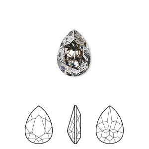 embellishment, swarovski crystal rhinestone, crystal passions, crystal silver patina, foil back, 14x10mm faceted pear fancy stone (4320). sold per pkg of 12.
